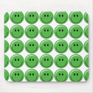 Happy green smiley face mouse pads