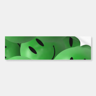 HAPPY GREEN SMILIE FACES CIRCLES LAYERED PATTERN W BUMPER STICKER