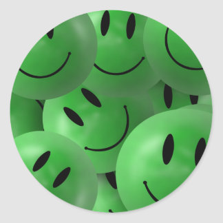 HAPPY GREEN SMILIE FACES CIRCLES LAYERED PATTERN W CLASSIC ROUND STICKER