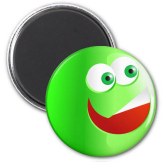 Happy Green Smilie 6 Cm Round Magnet