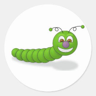Happy Green Smiling Cartoon Worm with Brown Eyes Round Sticker