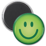 Happy green smiling smiley face 6 cm round magnet