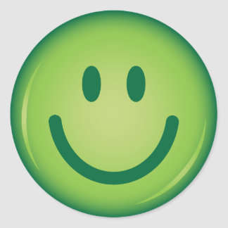 Happy green smiling smiley face round sticker