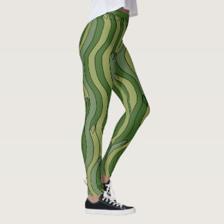 HAPPY GREEN SNAKES by Slipperywindow Leggings