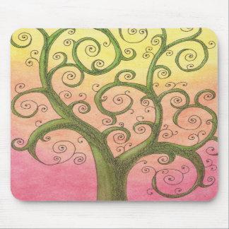 Happy Green Spiral Tree Mousepad