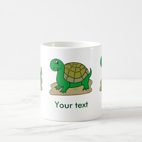 Happy green turtle. Customise name Coffee Mug