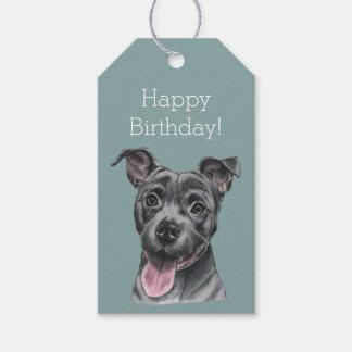 Happy Grey Pit Bull Dog Birthday Gift Tags