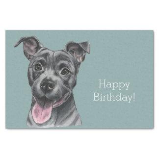 Happy Grey Pit Bull Dog Birthday Tissue Paper