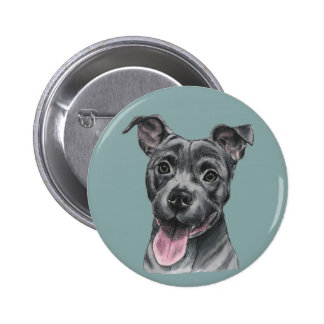 Happy Grey Pit Bull Dog Drawing 6 Cm Round Badge
