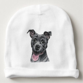 Happy Grey Pit Bull Dog Drawing Baby Beanie