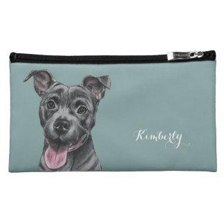 Happy Grey Pit Bull Dog Drawing Makeup Bag