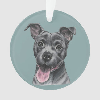 Happy Grey Pit Bull Dog Drawing Ornament