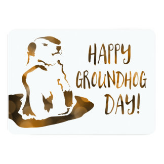 happy groundhog day 13 cm x 18 cm invitation card