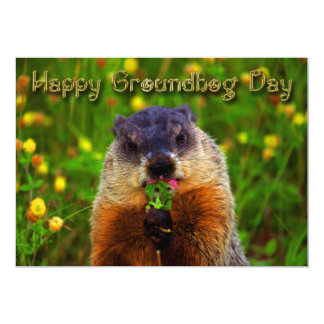 Happy Groundhog Day Eating Flower Card