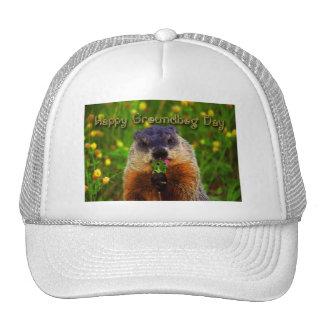Happy Groundhog Day Eating Flower Mesh Hats