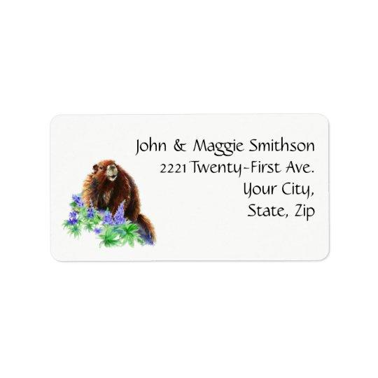 Happy Groundhog Day Fun Spring Animal Watercolor Address Label