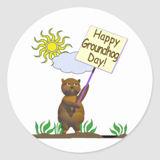 Happy Groundhog Day Groundhog Classic Round Sticker