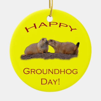 Happy Groundhog Day Kiss Christmas Ornament
