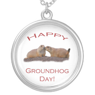 happy groundhog day kiss silver plated necklace