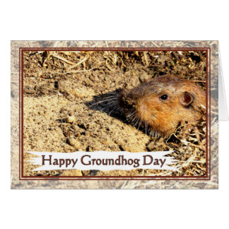 Happy Groundhog Day Peeking Out Card