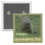 Happy Groundhog Day - Pin 2 Inch Square Button