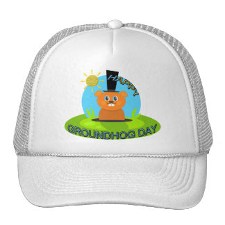 Happy Groundhog Day Sunshine Trucker Hats