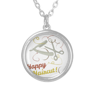Happy Haircut Round Pendant Necklace