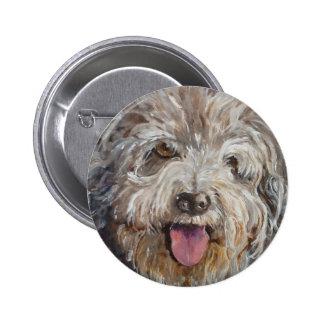 happy  hairy hound dog 6 cm round badge