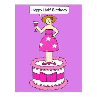 Happy Half Birthday, lady on a cake. Postcard