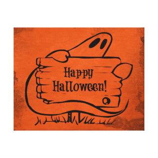 Happy Hallloween Ghost with Sign Gallery Wrapped Canvas