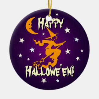 Happy Hallowe en Orange Witch on Broom Ornament