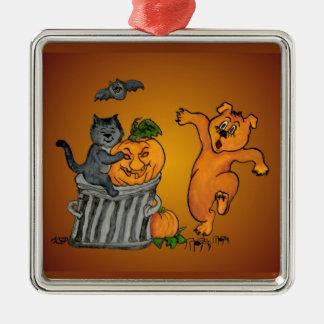 Happy Halloween! 5 Silver-Colored Square Decoration