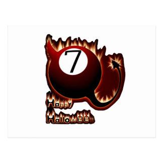 Happy Halloween 7 Ball Devil Postcard