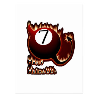 Happy Halloween 7 Ball Devil Postcard