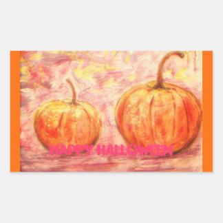 happy halloween art rectangular sticker