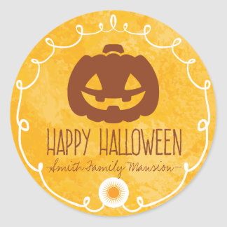 Happy Halloween At the Family Mansion. Classic Round Sticker