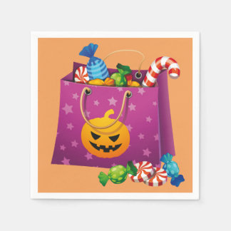 Happy Halloween bag full of candy Disposable Napkin