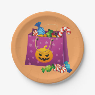 Happy Halloween bag full of candy Paper Plate