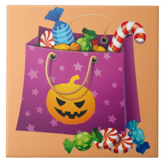Happy Halloween bag full of candy Tile