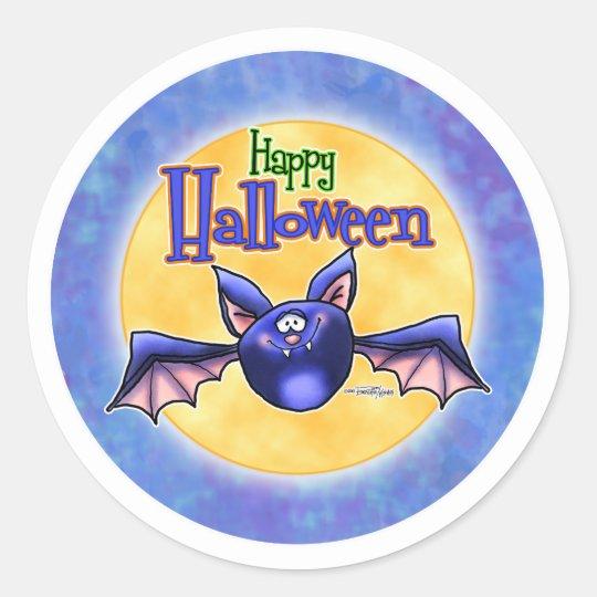 Happy Halloween Bat Classic Round Sticker