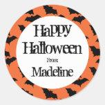 Happy Halloween Bat Pattern Kids Personalised Round Sticker