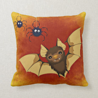 Happy Halloween Bat with Spiders Throw Pillow