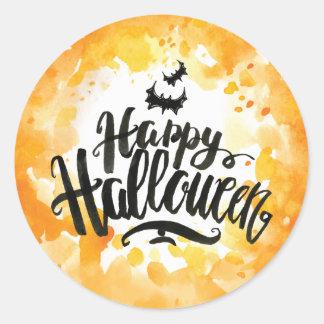 Happy Halloween Bats in Pumpkin Color Watercolor Classic Round Sticker