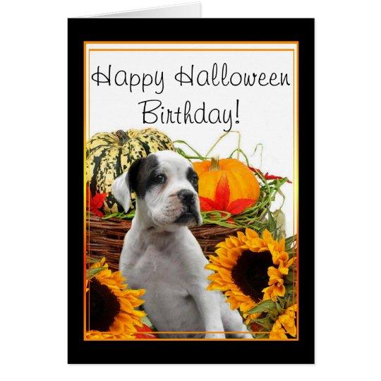 Happy Halloween Birthday boxer puppy greeting card