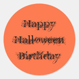 Happy Halloween Birthday, grunge text orange black Classic Round Sticker
