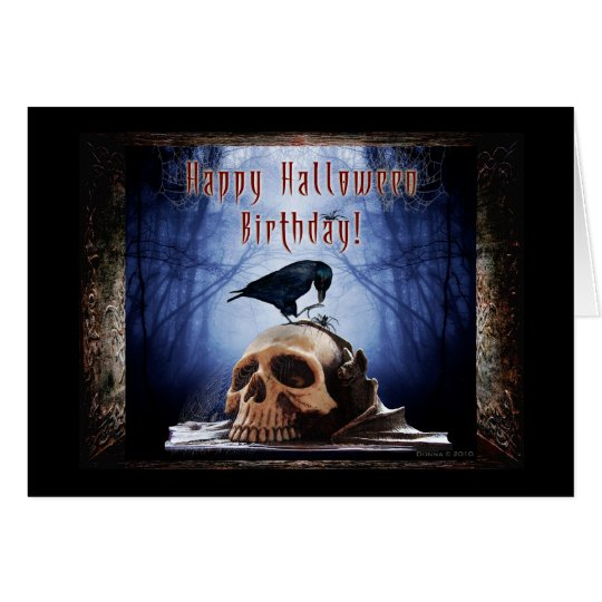 Happy Halloween Birthday - Raven on Skull Card