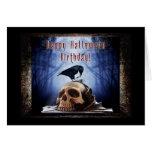 Happy Halloween Birthday - Raven on Skull Greeting Card