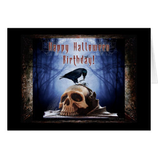 Happy Halloween Birthday - Raven on Skull Greeting Card