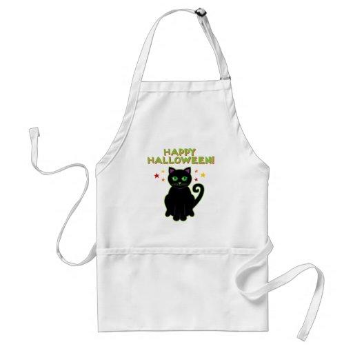 Happy Halloween Black Cat Aprons