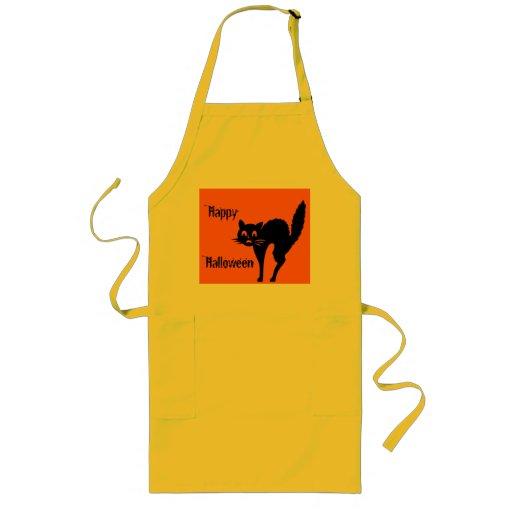 HAPPY HALLOWEEN BLACK CAT apron